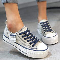 Women's Canvas Flat Heel Flats Low Top Round Toe Espadrille With Lace-up shoes