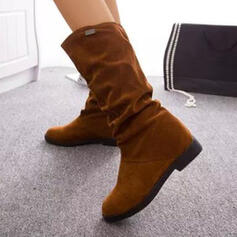 Women's Suede Flat Heel Boots Mid-Calf Boots With Solid Color shoes