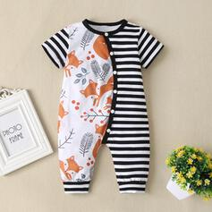 Baby Cartoon Button Animal Striped Cotton One-piece