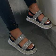 De mujer PU Tacón plano Sandalias Plataforma Encaje con Rhinestone zapatos