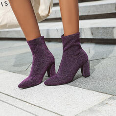 Women's PU Chunky Heel Ankle Boots Pointed Toe With Zipper shoes