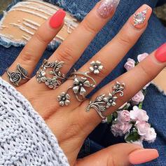 Boho Flowers Alloy Women's Ladies' Rings 4 PCS
