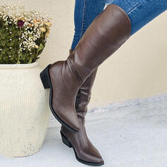 Women's PU Chunky Heel Mid-Calf Boots With Zipper Solid Color shoes