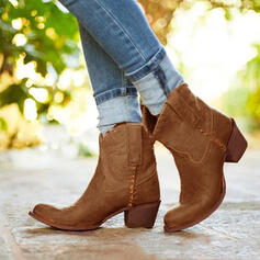 Women's PU Chunky Heel Ankle Boots Round Toe With Rivet Splice Color shoes