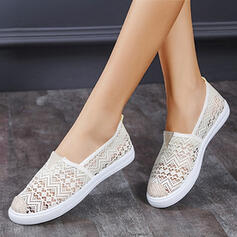 Women's PU Flat Heel Flats Low Top Round Toe With Hollow-out Solid Color shoes