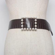 Fashionable Rectangular Buckle Alloy Imitation Pearls PU Women's Belts