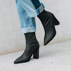 Women's Cloth Chunky Heel Ankle Boots Pointed Toe With Zipper shoes