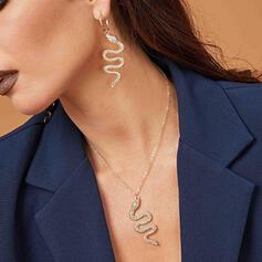 Serpiente formado Atractivo Aleación Diamantes de imitación con Rhinestone Sistemas de la joyería Collares Pendientes 3 PIEZAS