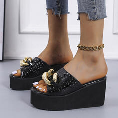 Women's PU Wedge Heel Sandals Peep Toe Slippers With Chain Solid Color shoes