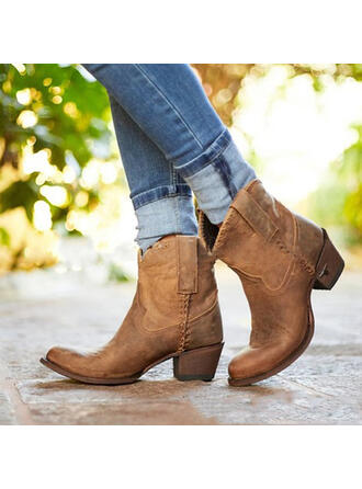 Women's PU Chunky Heel Mid-Calf Boots Round Toe With Rivet Splice Color shoes