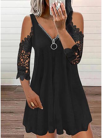 Solid Lace 3/4 Sleeves Cold Shoulder Sleeve A-line Above Knee Casual Skater Dresses