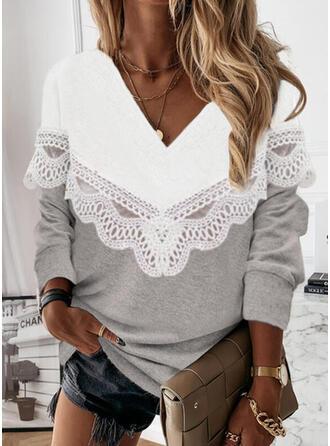 Color Block Lace V-Neck Long Sleeves Sweatshirt