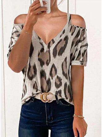 Print Leopard Cold Shoulder Short Sleeves Casual Blouses