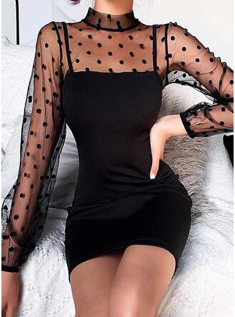 Lace/PolkaDot Long Sleeves Bodycon Above Knee Elegant Dresses
