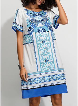Print Short Sleeves Shift Knee Length Casual/Boho/Vacation T-shirt Dresses
