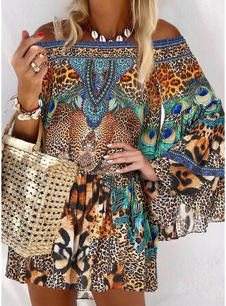 Print/Leopard Long Sleeves/Flare Sleeves Shift Above Knee Casual/Vacation Tunic Dresses