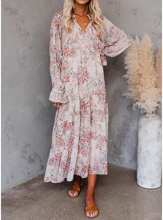 Impresión/Floral Manga Larga Acampanado Casual/Elegante Maxi Vestidos