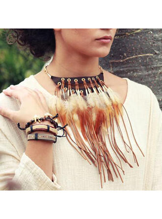 Exotic Boho Alloy Feather Leather Women's Necklaces