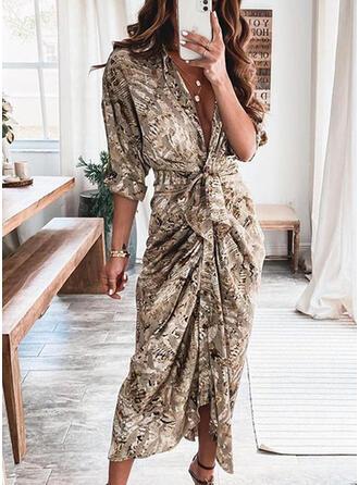 Print Long Sleeves Sheath Shirt Casual Maxi Dresses