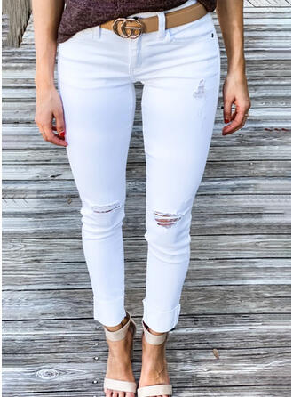 Solid Cotton Long Casual Plus Size Pocket Ripped Pants Denim & Jeans