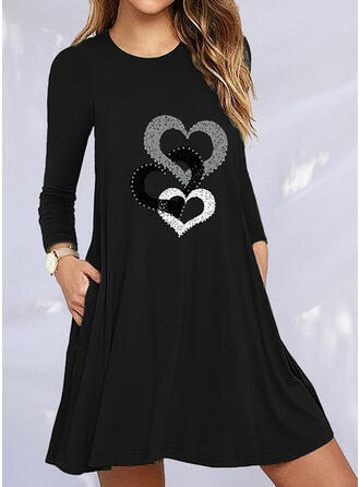 Print/Heart Long Sleeves Shift Above Knee Casual Dresses