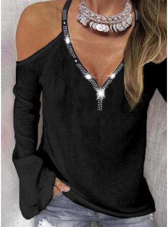Solid Sequins Cold Shoulder Long Sleeves Cold Shoulder Sleeve Casual Blouses