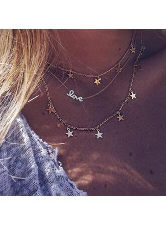 Encanto infinito Romántico En capas Aleación con Estrella Collares 3 PIEZAS