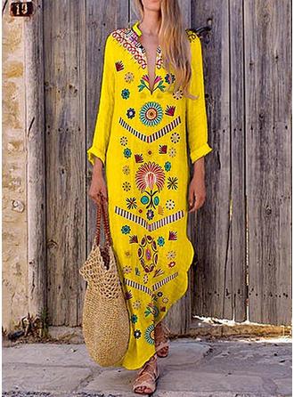 Print/Floral Long Sleeves Shift Tunic Casual/Boho/Vacation Maxi Dresses