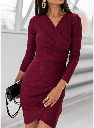 Solid Long Sleeves Bodycon Above Knee Elegant Dresses