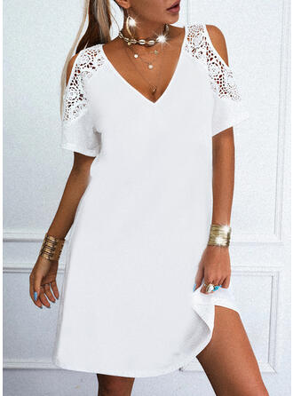 Solid Lace 1/2 Sleeves Shift Knee Length Casual Tunic Dresses