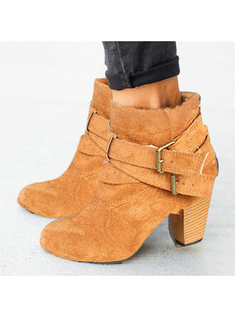 Women's Suede Chunky Heel Mid-Calf Boots Round Toe With Buckle shoes