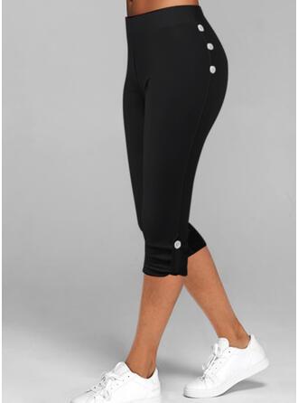 Solid Capris Casual Plus Size Button Pants