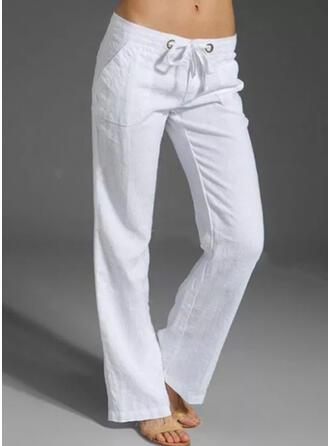 Solid Plus Size Drawstring Casual Plain Lounge Pants