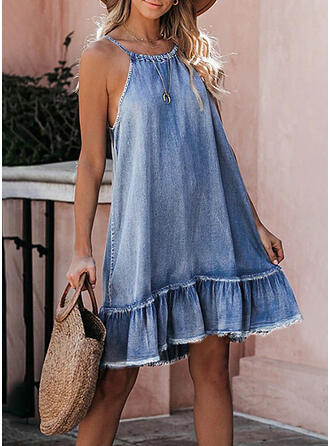Solid Sleeveless Shift Above Knee Casual/Denim Slip Dresses