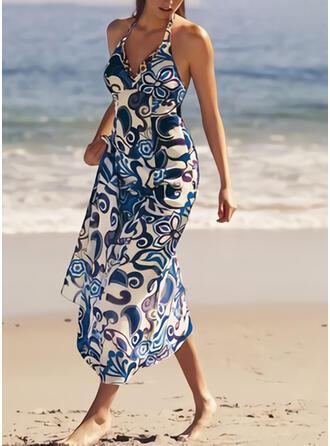 Print Sleeveless A-line Skater Vacation Maxi Dresses