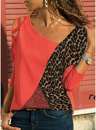 Bloque de color Leopardo Top sin Hombros Manga Larga Casual Blusas