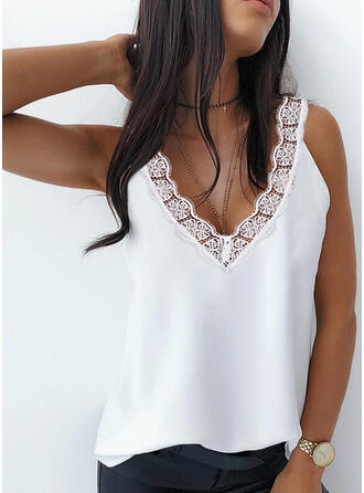 Solid Lace V-Neck Sleeveless Tank Tops