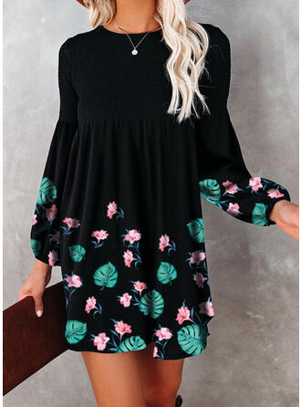 Print/Floral Long Sleeves/Lantern Sleeve Shift Above Knee Casual Tunic Dresses