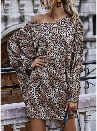 Leopardo Manga Larga Tendencia Sobre la Rodilla Casual Vestidos