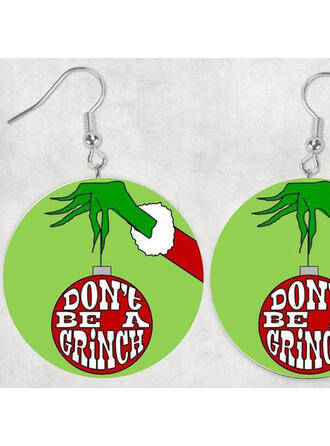 Hottest Christmas Grinch Wood Women's Earrings 2 PCS