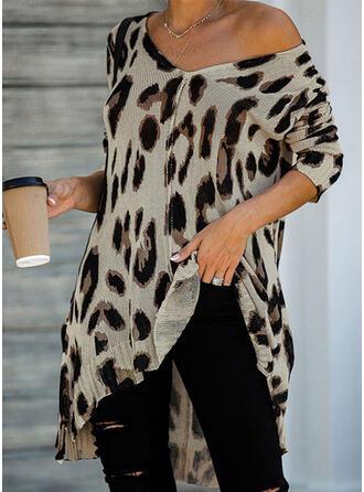 Leopardo Cuello en V Manga Larga Casual Blusas
