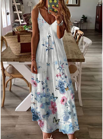 Floral/Animal Print Sleeveless Shift Slip Casual/Vacation Maxi Dresses