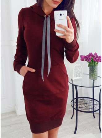 Solid Long Sleeves Bodycon Above Knee Casual Sweatshirt Dresses