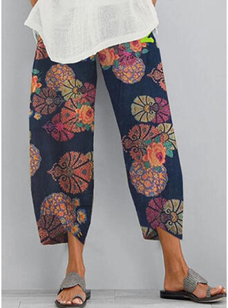Floral Patchwork Print Cropped Boho Casual Pants