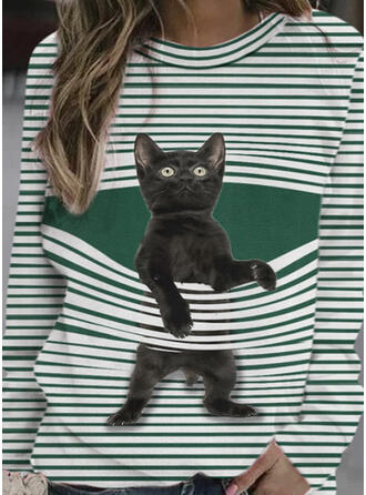 Animal Print Striped Crew Neck Long Sleeves Sweatshirt