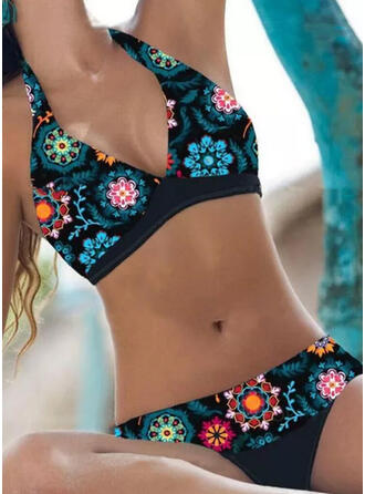Floral Stripe Halter V-Neck Sexy Boho Bikinis Swimsuits