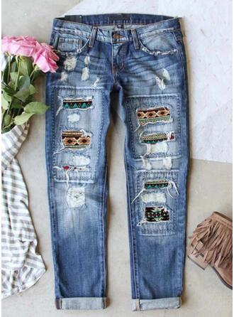 Ripped Leopard Tribal Vintage Denim & Jeans