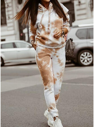 Tie Dye Drawstring Casual Sporty Suits