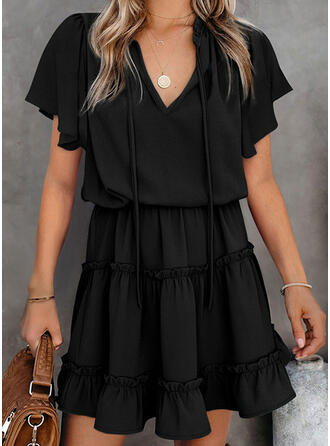 Solid/Lace-up Short Sleeves A-line Above Knee Little Black/Casual Skater Dresses