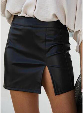 Leather/PU Plain Mini Pencil Skirts